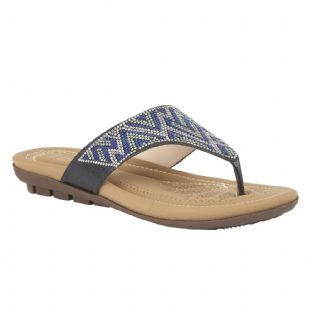 Lotus Womens Patti Blue Flat Toe-Post Sandals